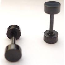 Brinco Falso Alargador Imita 4mm Aço Preto - 2 Unidades Par