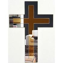Crucifixo Em Espelho Acrílico Decoração 56x40cm