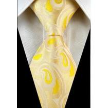 Gravata Seda Paisley Dourado E Amarelo Ouro Gvt 2075