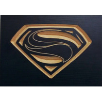 Quadro Entalhado Em Madeira - Super Homem - Man Of Steel