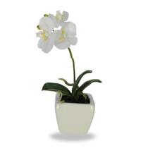 Flor Orquidea Phalaenopsis Branca Real Toque 26cm Com Vaso F