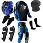 Kit Proteção Motocross Insane Pro Tork 5 Itens Azul