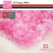 Tapete Shaggy Fio Seda : Rosa Pink, Sob Medida : 1,00x1,50m
