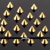 Kit 10 Spikes Unhas Nail Art Banho Ouro Decoradas
