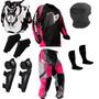 Kit Proteção Motocross Insane Pro Tork 5 Itens Rosa Feminino