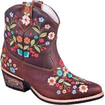 Bota Feminina Country Texana Cano Baixo 100% Couro Bordada