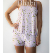 Pijama Adulto Feminino Baby Doll Blusinha Alça Shorts Curto