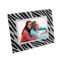 Porta Retrato De Vidro 10x15 Estampado Glitter - Preto Prata