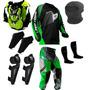 Kit Proteção Motocross Insane Pro Tork 5 Itens Verde