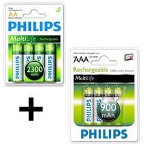 Kit Pilha Aaa + Aa Recarregável Philips 8 Un. 900 + 2300 Mah