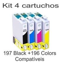 Kit Epson 197 + 196 Compativel Preto Xp201 Xp214 401 Wf2512