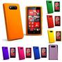 Capa Nokia Lumia 820 Silicone Color + Pelicula