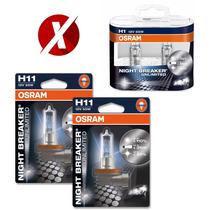Kit Lâmpadas H1 + H11 Osram Night Breaker 110% + Luz Farol