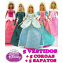 Kit 5 Vestidos Princesa Disney Barbie + 5 Sapatos + 5 Coroas