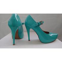 Sapatos Meia Pata Azul Tifanny Envernizado Feminino