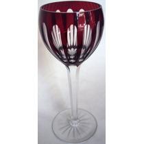 Taça (s) Grande De Cristal Vermelho - Lapidação Unha De Gato