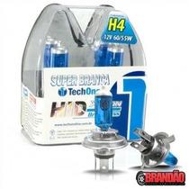 Par Lâmpada Super Branca H4 8500k Techone Farol Astra 95/97