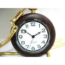 Relógio Bolso De Madeira Alta Precisão Aluminium