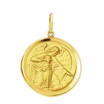 Leão Jóias Pingente Medalha Anjo Da Guarda De Ouro 18k 4,3gr
