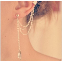 Moda Borla Ear Cuff Brincos Para Mulheres Cadeia Punhos Da O