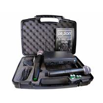 Microfone Profissional Sem Fio Duplo Leson Ls802 Ht + Case