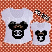 Kit Tshirt Feminina Tal Mãe Tal Filha Mickey Minnie Chanel