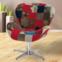 Poltrona Cadeira Decorativa Patchwork Swan Para Sala Quarto