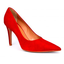 Scarpin Vermelho Bico Fino Camurça | By Elizabeth Calçados