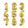 Balão Metalizado Número Dourado Metálico 40cm