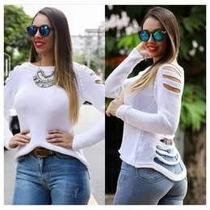 Blusa Tricot Rasgada Em Tiras Destroyed/sueter/trico