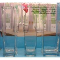 Conjunto De Vasos Decorativos C/ 3 Peças Em Vidro Elegance