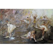 Pintura A Óleo Sobre Tela - Bailarinas Dançando