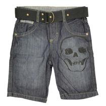 Bermuda Infantil Menino Jeans Silk Caveira Com Cinto Preto B