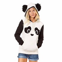 Jaqueta Do Panda Com Capuz De Orelhinhas E Bolso