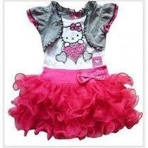 Vestido Infantil Importado Hello Kitty E Tiara