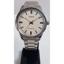 Relógio Casio Masculino Clássico Prata Com Dourado Analógico
