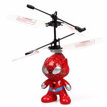 Boneco Homem Aranha Voador Helicóptero Led Sensor Indutivo