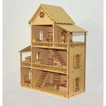 Casa De Bonecas Polly + Mini Moveis Mdf Para Pintar