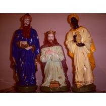 Imagens Três Reis Magos - 30 Cm - Gesso Cru Para Pintar