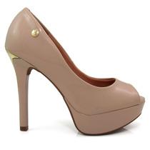 Sapato Feminino Peep Toe Vizzano 1830100 Verniz Salto Fino