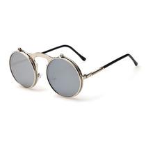 Óculos De Sol Steampunk Duplo Flip Lente Redonda Espelhada *