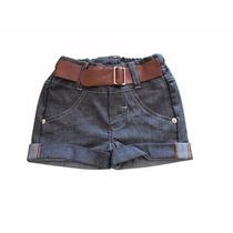 Shorts Jeans Infantil Menina Com Cinto De Couro Kd3108-1