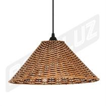 Luminária Tipo Pendente - Palha Artificial - Chapéu Chinês