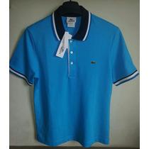 Camisa Polo Masculina Marca Famosa Azul Tm M - Prod. Novo