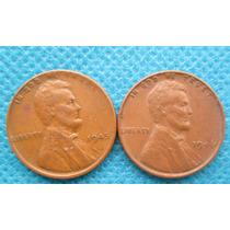 2 Moedas Antigas Dos Estados Unidos One Cent 1945 E 1946