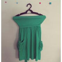 Vestido Verde Malha Tomara-que-caia Bolsos Cód. 274