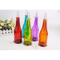 Promoção - Porta Vela Garrafa Color Em Vidro Com Vela De Led