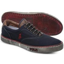 Tênis Polo Sneaker Masculino Azul Marinho/ Vermelho Manchado