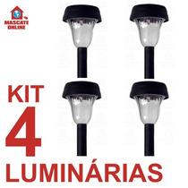 Kit 4 Luminárias Solares De Jardim. Poste Luz Baliza Espeto