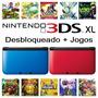 Nintendo 3ds Xl Desbloqueado + 51 Jogos De 3ds + Sd 32gb